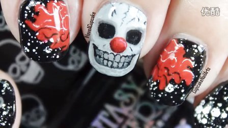 [IHaveACupcake] 万圣节骷髅小丑美甲设计 - *Halloween Nail Art *Creepy Skull Clown*