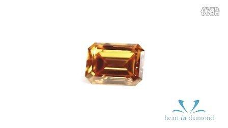 英国恒远钻石 Heart In Diamond 橙黄色钻石枕形切工 Orange Heart In Diamond Emerald Cut