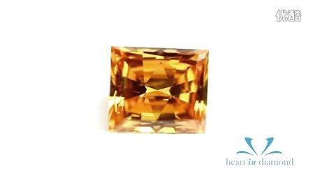 英国恒远钻石 Heart In Diamond 橙黄色钻石公主方形切工Orange Heart In Diamond Princess Cut