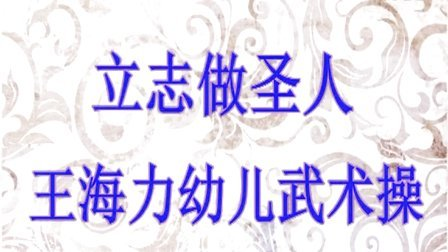 《立志做圣人》王海力幼儿武术操