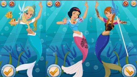 冰雪奇缘 【艾莎公主变成了美人鱼】 白雪公主美人鱼 玩游戏学英文