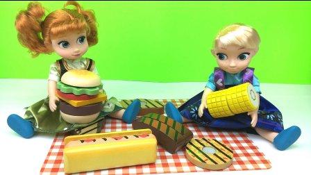 亲子 小艾莎公主和小安娜公主吃烧烤 过家家