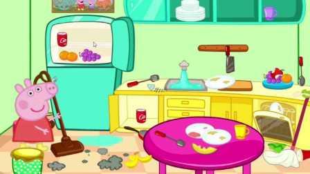 小猪佩奇在清理厨房,粉红猪小妹是不是家务一把手?就看她的表现了