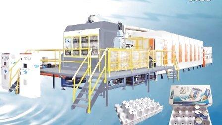 必硕科技纸浆模塑六个核桃饮料托盘生产线—二面转鼓成型机机