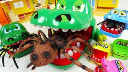 搞笑玩具 小企鹅啵乐乐 蜘蛛攻击小企鹅啵乐乐 玩具巨型蜘蛛和鳄鱼 玩具蜘蛛 令人毛骨悚然的昆虫