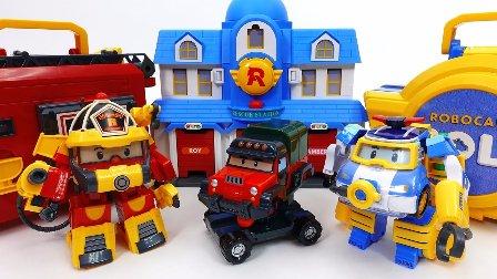 车珀利 汽车人装配 变形警车珀利  玩具汽车 小汽车玩具游戏 洗车中心救援中心停车场  珀利洗车中心