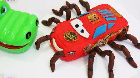 赛车总动员闪电麦昆组装变形汽车蜘蛛 迪士尼汽车闪电麦昆  巨型蜘蛛攻击鳄鱼 巴士玩具小巴士卡通高清 儿童玩具