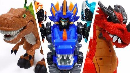 车珀利变形金刚和恐龙 恐龙世界阿贡  汽车人装配  变形警车珀利 玩具汽车 机器人 恐龙世界阿贡 婴儿视频 卡通玩具