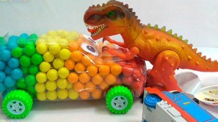 玩具火车托马斯和他的朋友们  糖果奇趣蛋玩具视频惊喜蛋 泡泡糖汽车巨型恐龙袭击托马斯火车 火车金德欢乐 糖果 托马斯和他的朋友 小汽车玩具游戏  恐龙