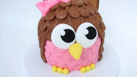 希望每日每夜守护着她,定制一个猫头鹰生日蛋糕给女友