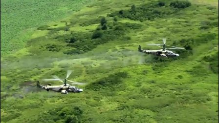 短吻鳄攻击! 俄罗斯卡52多用途直升机双机编队演练进攻