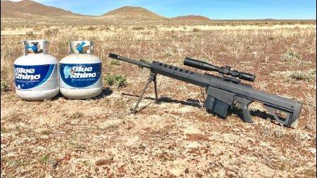50口径的反坦克狙击枪打到两个煤气罐上会怎样? 看着超级爽