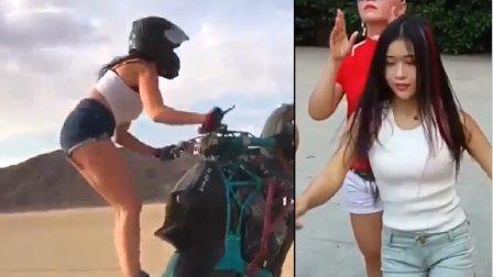 (轻松一刻)这个妹子开摩托车惊呆了 搞笑视频