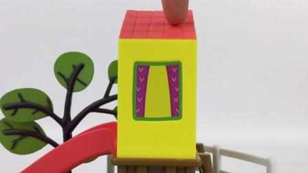 小猪佩奇的滑滑梯 粉红猪小妹新玩具拆箱视频游乐园套件