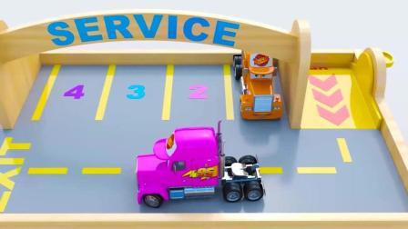 彩色车库里面的彩色的拖拉机工程车, 快乐学习颜色