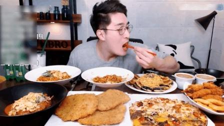 大胃牛叔吃猪排意面和披萨, 我的叔你是越来越肥了