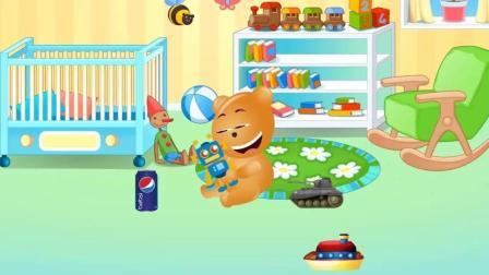 学习颜色: 顽皮熊开玩具大炮车, 开心坏了