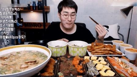 大胃牛叔吃叉烧面猪排和寿司, 这顿饭应该都够4个人吃饱了吧?