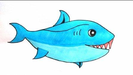 宝宝爱画画第五十八课 一起学习大鲨鱼涂色, 儿童简笔画教程大全