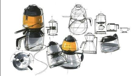 咖啡壶产品设计手绘方案,韩国设计师系列工业设计手绘作品