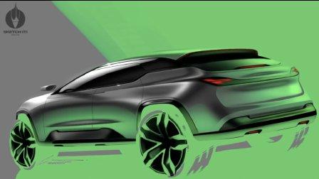 photoshop画汽车suv手绘效果图,上色二维渲染.