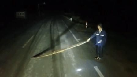 路霸深夜抢劫大货车, 货车司机就没当一回事, 长按喇叭冲撞碾压!