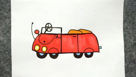 如何画小猪佩奇家的车
