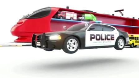 红色火车装载各种颜色汽车玩具动画视频2