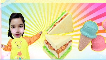 制作冰淇凌的三明治蛋糕