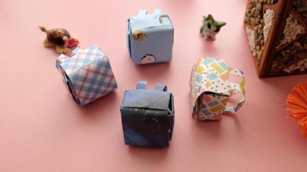 超级萌的迷你书包折纸, 其实很简单, 3张纸就能折出来!