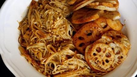 教你足不出户在家就能吃到美味的烧烤-烤金针菇莲藕双拼
