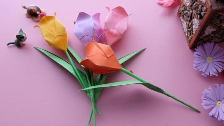 看腻了玫瑰花, 来折一束郁金香吧! 插在花瓶超好看