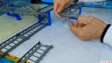 汽车总动员之拼装十字形立交桥轨道玩具动画视频
