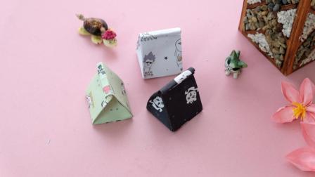 简单的迷你礼品袋折纸, 成品超级萌, 一张纸就完成