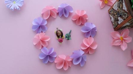 少女心爆棚, 清新范十足的折纸樱花花环, 粉嫩超可爱!