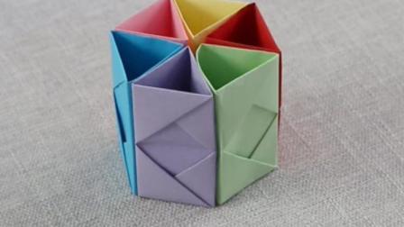 巧手妈妈---六角形笔筒