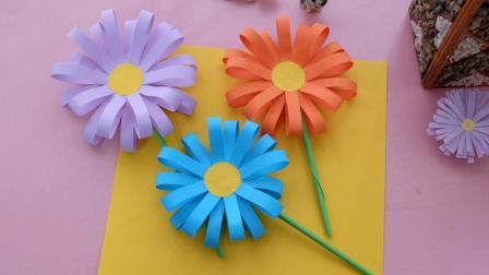 最简单的折纸小菊花教程, 非常适合小朋友们学习, 当装饰也很漂亮!