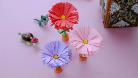 用纸条就能diy的小雏菊盆栽, 超有创意, 放在书桌很特别!