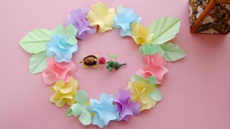 超美的一款折纸花环, 清新范十足, 成品真的太漂亮啦!