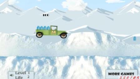 小货车拉牛奶瓶在雪地奔跑玩具动画视频