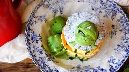 超详细步骤教你制作日本人气网红甜点-抹茶厚松饼配冰淇淋
