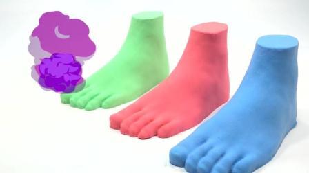 可爱的小恐龙爱彩色的巧克力豆, 有趣的模拟沙玩具
