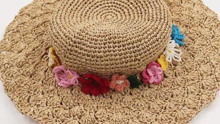 织一片慢生活  棉草遮阳帽花片装饰钩织教程