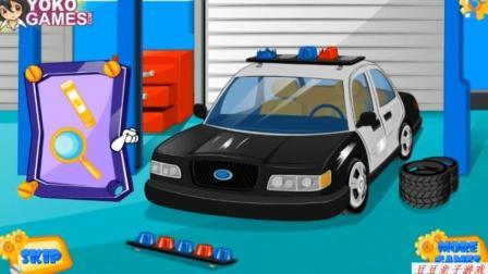汽车总动员动画赛车总动员玩具之清洗警车玩具视频