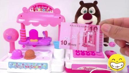 小猪佩奇第四季玩具视频: 冰淇淋糖果小超市收银台猪猪侠熊大