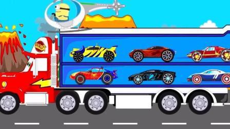 汽车总动员挖掘机大全玩具视频之大卡车运小汽车动画玩具