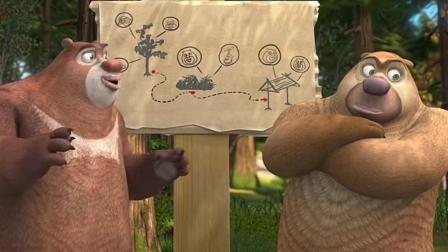 熊出没之熊熊乐园 熊二熊大开红色直升机飞机游玩