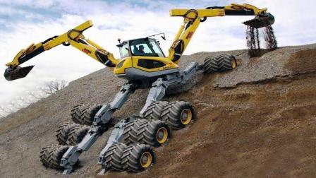 像怪物一样的蜘蛛挖掘机重型现代机器设备, 这作业技能超霸气!