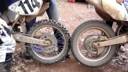 两个摩托车轮胎这样相互摩擦, 会起火吗