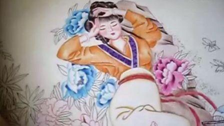 【拍客】王丽娜红楼梦系列油笔画之《湘云醉卧》